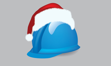 mine site: Illustrate vector construction cap, hardhat with christmas theme