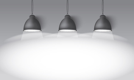 illuminator: Illustrated gray background with three hanging lighting lamps great room space for your abstract design