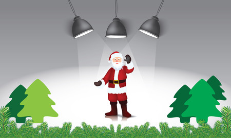 Illustrated Santa claus and christmas trees under lamp direct light and fir leaves bottom