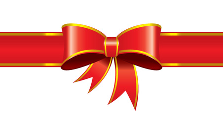Illustrated vector red ribbon bind banner