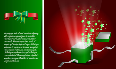 shining light: Magic gift box is opening stars splashing out with shining light effect, ribbon banner Illustration