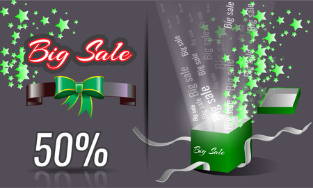 shining light: Illustrated big sale gift box opening splashing green stars and shining light with ribbon banners