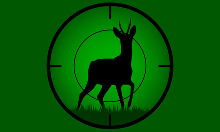 Illustrated Deer buck on full moon badge target on focus