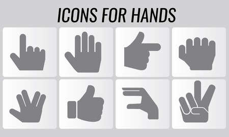 okay: Vector symbol shaped hands silhouette icons set: finger counting, stop gesture, fist, devil horns gesture, okay gesture, v sign Illustration