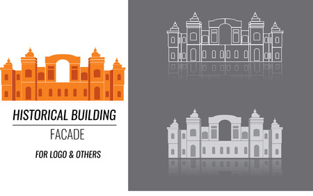Classical building architecture made in vector. Building of a church or cathedral modern logo for construction company template. City constructor series. Illustration