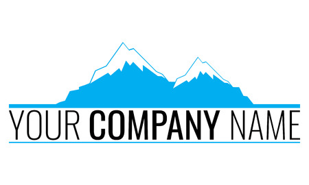 Logo for a company with illustrated two moutains rock symbol, snow on the top
