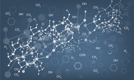 thymine: DNA molecule, medical blue abstract background with chemical formulas. Illustrated vector