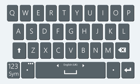 Smartphone keyboard. Realistic and flat mobile phone keypad vector moc-kup. Keyboard for mobile device illustration. No gradient Vettoriali