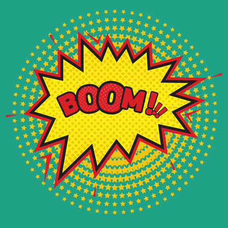 Boom - Comic sound effect with halftone effect background. Vector illustration.