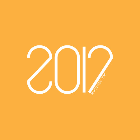 january 1: Creative 2017 Text Design vector. Creative letters with curved and straight lines. Happy new year. Illustration