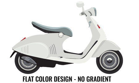 but: Scooter motorbike realistic but with flat color style design. Illustration