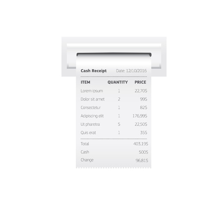 Sales printed receipt, shopping paper bill atm vector mockup. Paper check and financial check isolated