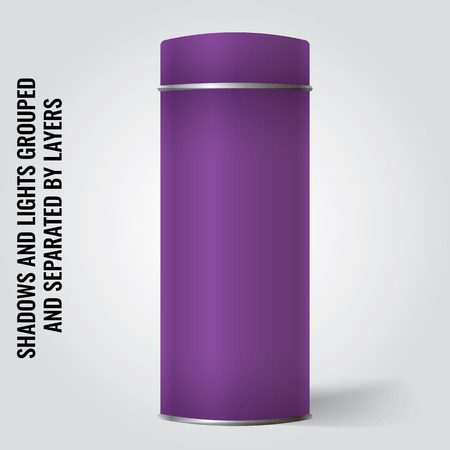 tincan: Purple Blank Tin can packaging mockup. Tea, coffee, dry products, gift box. Place your design over the box.