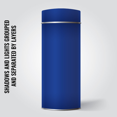 tincan: Blue Blank Tin can packaging mockup. Tea, coffee, dry products, gift box. Place your design over the box. Illustration