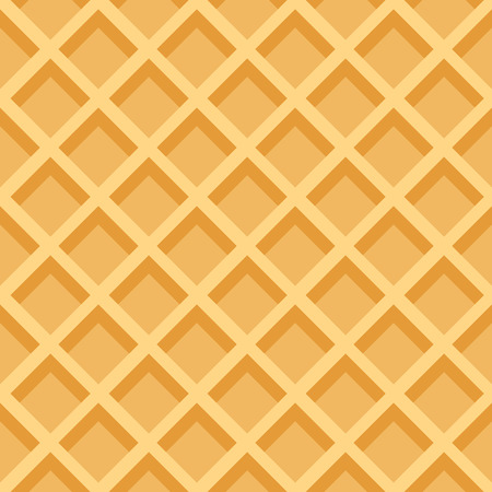 Waffles seamless vector pattern. Sweet and delicious food background with flat color design