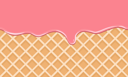 crispy: Cream Melted on Chocolate Wafer Background. Vector Illustration with flat color style design. Illustration