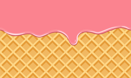 Cream Melted on Chocolate Wafer Background. Vector Illustration with flat color style design. Illustration