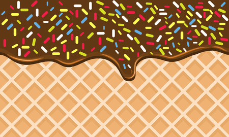 Chocolate Crispy Waffle with Flowing Hot Chocolate with Sprinkles. Dark Black Chocolate Dessert. Wafer Vector Texture. Tasty Food Background with flat color style design Illustration