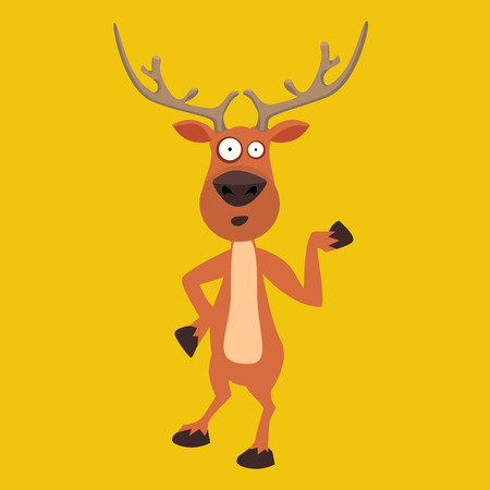 Cute moose, funny cartoon reindeer character showing with hand. Ideal character for your christmas card design. Illustration