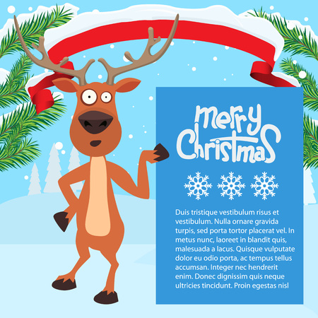 whitespace: Reindeer cartoon showing or holding blank billboard with winter background and fir tree leaf. Ribbon snow on it. Merry christmas calligraphy and snowflakes. Empty place for your design.