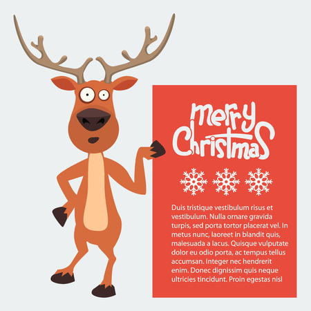 Cartoon Christmas Santas reindeer peeking round and pointing at a sign or blank board. Merry Christmas calligraphy on it.