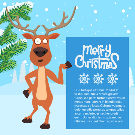 whitespace: Reindeer cartoon showing or holding blank billboard with winter background and fir tree leaf. Merry christmas calligraphy and snowflakes. Empty place for your design.