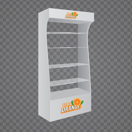 display: POS POI Cardboard Glass Floor Display Rack For Supermarket. Vector Blank Empty Displays Glass Shelves for Products with Background Isolated. Ready For Your Design. Product Packing. Illustration