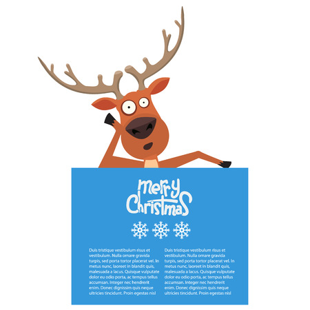 rudolf: Cartoon Christmas Santas reindeer lean on and pointing at a blank board. Merry Christmas calligraphy on it.