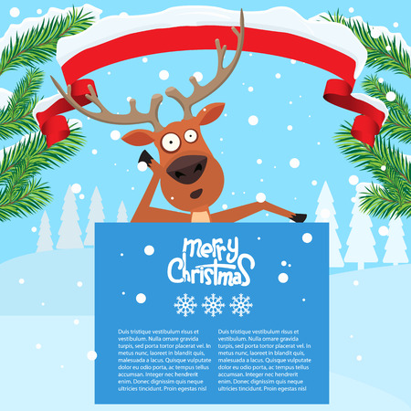 Reindeer cartoon lean on and showing or holding blank billboard with winter background and fir tree leaf. Ribbon snow on it. Merry christmas calligraphy and snowflakes. Empty place for your design. Illustration