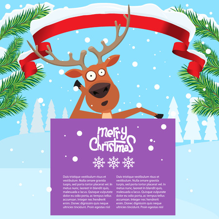 whitespace: Reindeer cartoon lean on and showing or holding blank billboard with winter background and fir tree leaf. Ribbon snow on it. Merry christmas calligraphy and snowflakes. Empty place for your design. Illustration