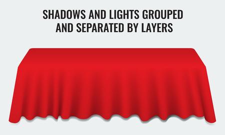 Empty souper table de banquet avec 3d tissu rouge bureau réaliste illustration vectorielle. Ombres et lumières groupées par couches.