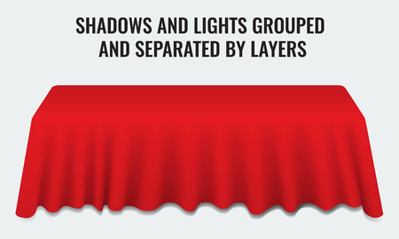 Empty dinner banquet table with red cloth 3d realistic desk vector illustration. Shadows and lights grouped by layers.