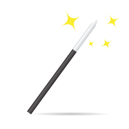 Magicians magic wand isolated on white. Realistic illustration vector