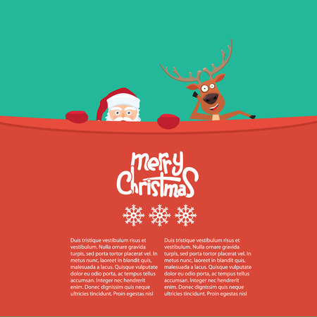 Happy Christmas reindeer and Santa cartoon characters behind a billboard. Great background for your invitation card. Cute Merry Christmas calligraphy and snowflakes 일러스트