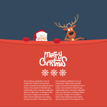 Happy Christmas reindeer and Santa cartoon characters behind a billboard. Great background for your invitation card. Cute Merry Christmas calligraphy and snowflakes Illustration