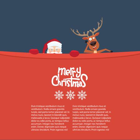 Reno de Navidad feliz y personajes de dibujos animados de Santa detrás de una valla publicitaria. Gran fondo para la tarjeta de invitación. Linda caligrafía Feliz Navidad y copos de nieve
