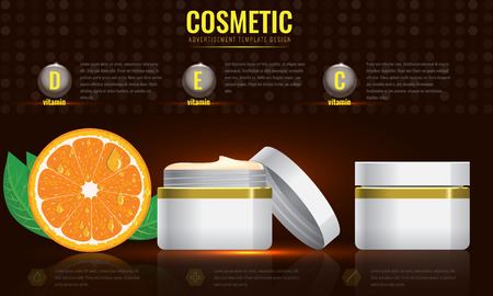 product information: Cosmetic ads template, blank cosmetic mockup with sparkling effect. Orange with leaf. Product information and translucent liquid ball. Vector 3D illustration Illustration