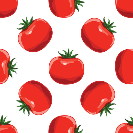 Tomatoes seamless pattern background. Flat color style design