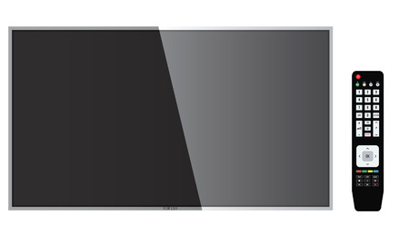 Smart TV Mock-up, Vector TV Screen, LED TV hanging on the wall. Remote control