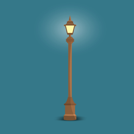 Vector Streetlight with flat color style design. Isolated vector Illustration
