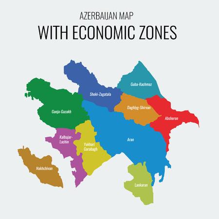 zones: Azerbaijan vector map with economic zones. Each region separately grouped. Illustration