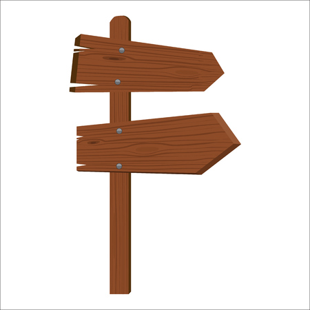 Wooden sign showing to different sides isolated flat color style vector