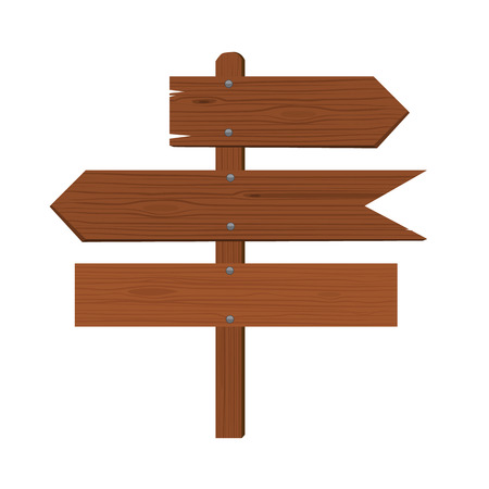 different directions: Wooden plates and an index of direction. Arrow signing different directions. Flat color style design.