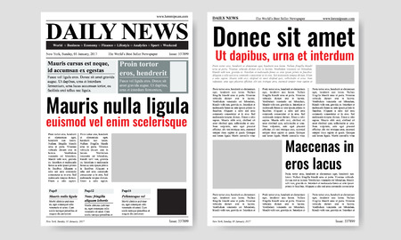 Vintage newspaper journal vector template. Paper tabloid on newsprint, reportage information vector illustration