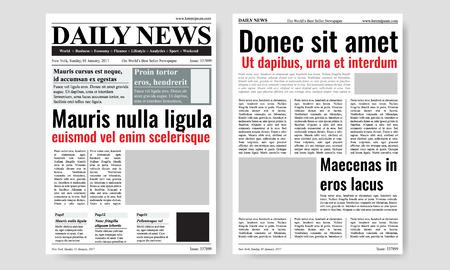 Vintage szablon gazety czasopisma wektorowych. Papier gazetowy tabloid na, reportaż informacje ilustracji wektorowych Ilustracje wektorowe