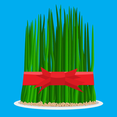 Nowruz holiday grass semeni on plate with red ribbon. Flat color style design vector