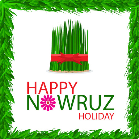 Nowruz holiday grass semeni on plate with red ribbon. Flat color style design vector. Frame with green grass and leaf.