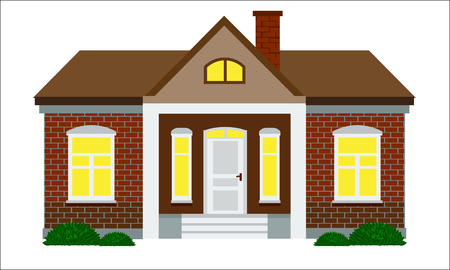 residental: Cute house with flat color style design. Brick wall and chimney. Illustrated vector with minimalism design