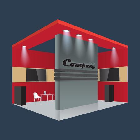 Conception créative du stand d'exposition. Modèle de stand. Vector d'identité corporative