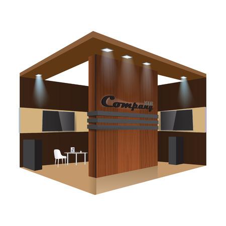 Kreative Messestand-Design. Booth Vorlage. Corporate Identity Vektor